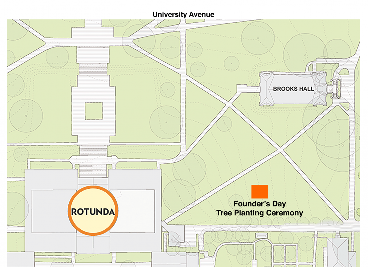The Founder's Day Tree Planting will take place on the east side of the Rotunda, near Brooks Hall.